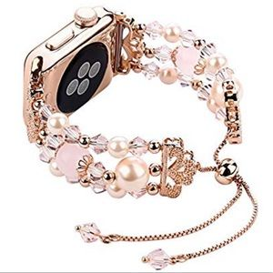 Accessories - For Apple Watch Faux Pearl Jewelry Band,Pink/Gold
